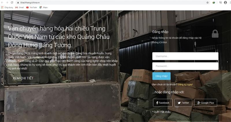 Đăng nhập vào hệ thống của iChina Company